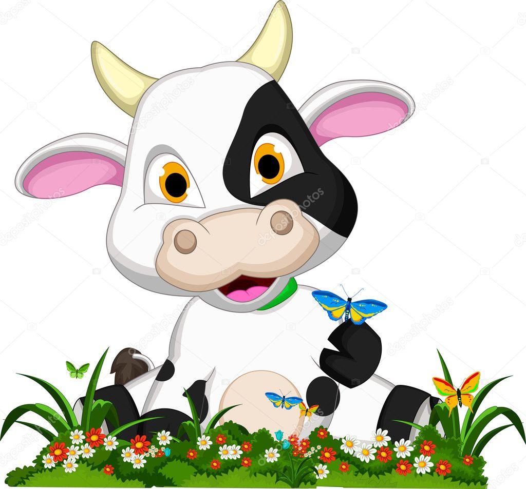 Linda vaca de dibujos animados sobre jard n de flores for Vacas decorativas para jardin