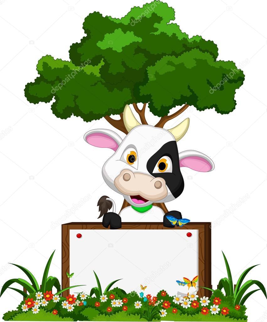 Linda vaca de dibujos animados sobre jard n de flores con for Vacas decorativas para jardin