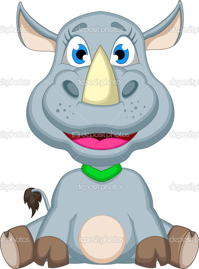 Cartone animato carino rinoceronte seduto — vettoriali
