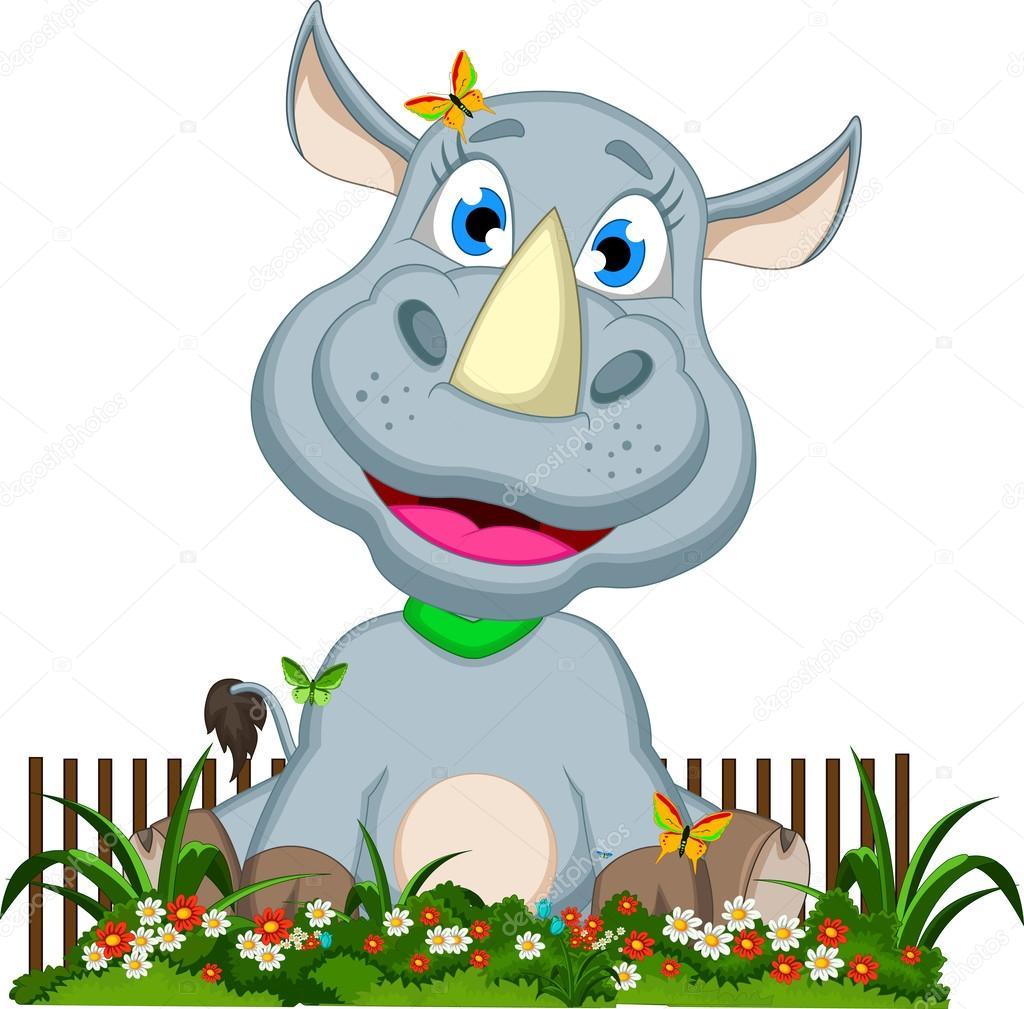 Flower garden cartoon - Cute Rhino Cartoon Sitting On Flower Garden Stock Vector 46260423