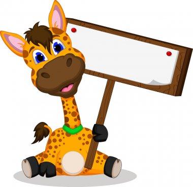 Cute giraffe cartoon holding blank sign