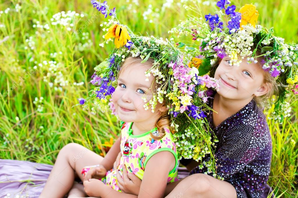 Childrens on summer nature