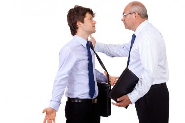 Senior businessman has an argue with young businessman, isolate