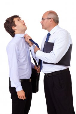 Senior businessman tearing young businessman at his tie, isolate