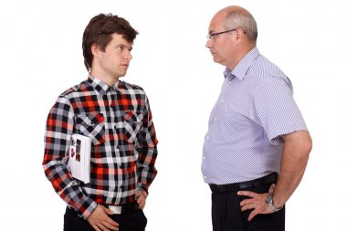 Strict father talking with his young son, isolated on white back