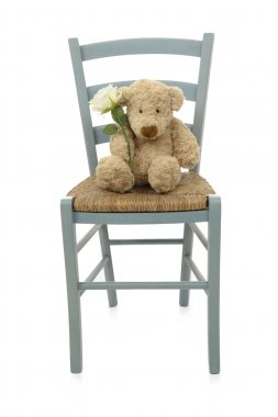 teddy bear with white rose