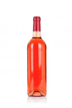 Bottle of rose wine isolated on white