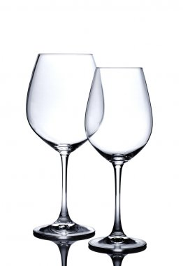 Cocktail glass set. Empty red and white wine glasses isolated on