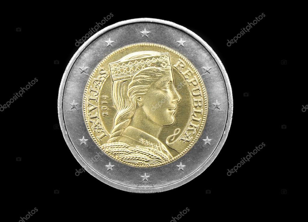 Neue Lettische 2 Euro Münze Stockfoto Eans 37759261