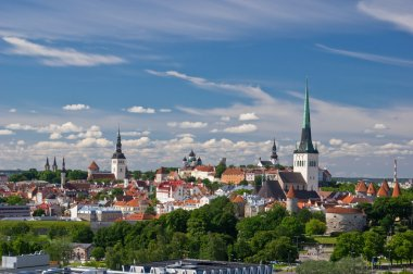 Aerial view of old city of Tallinn