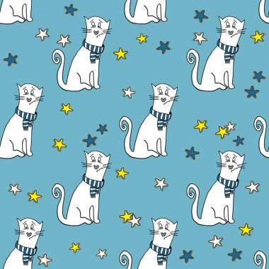 pattern with funny cats