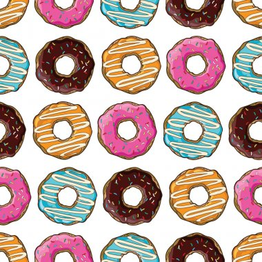 Coloured donuts vector set