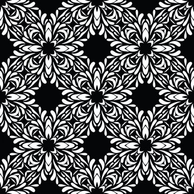 Black vintage flower pattern