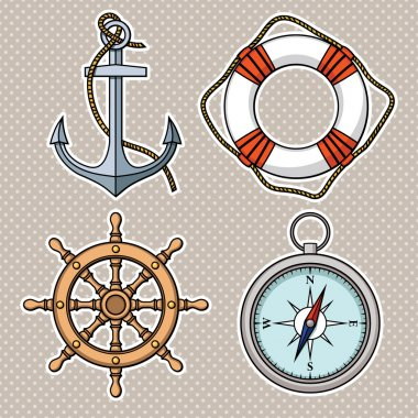 Set with isolated anchor, lifebuoy, ship's wheel, compass