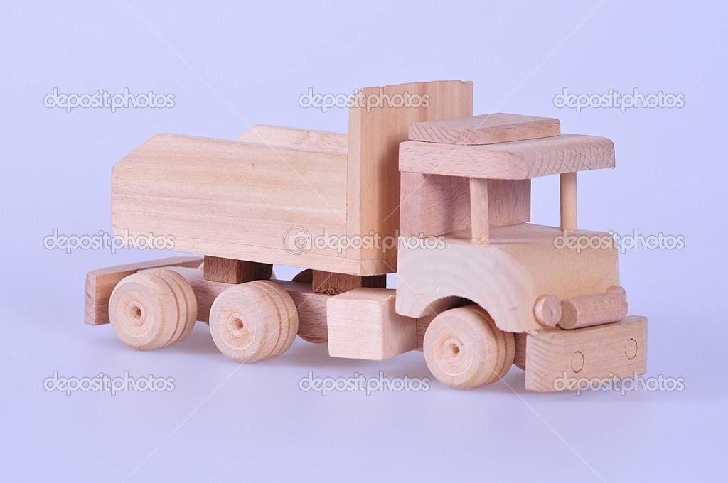 Homemade Wooden Car Wooden Homemade Toy Car Stock Photo