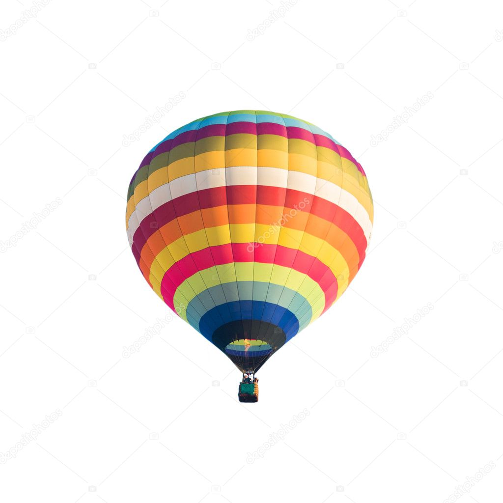 Hot air balloon isolated on whtie background