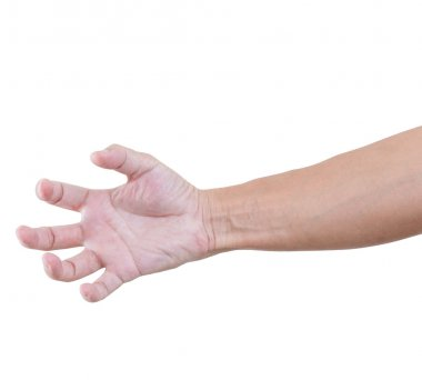 Hand bent isolated on white background