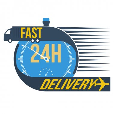 24 hour fast delivery and stop watch symbol, vector format