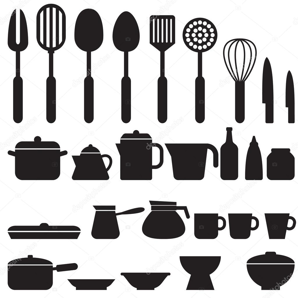 Set of kitchen tool silhouette icons vector 15