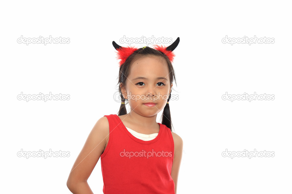 scary cute little asian girl in red halloween costume u2014 stock photo