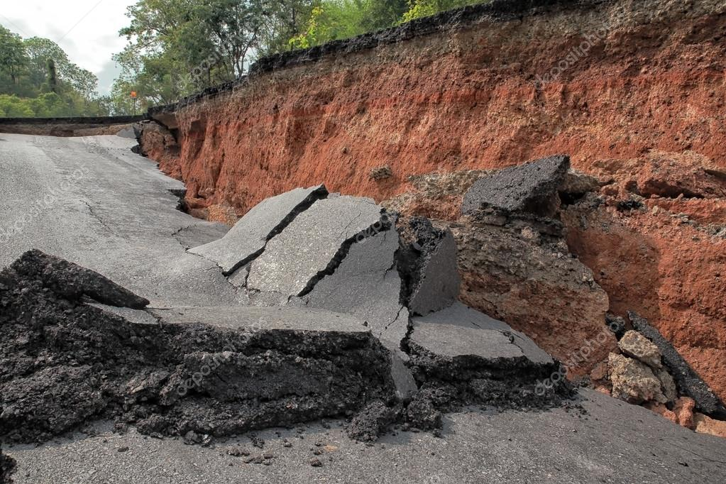 Beneath the asphalt. Layer of soil beneath the asphalt road.
