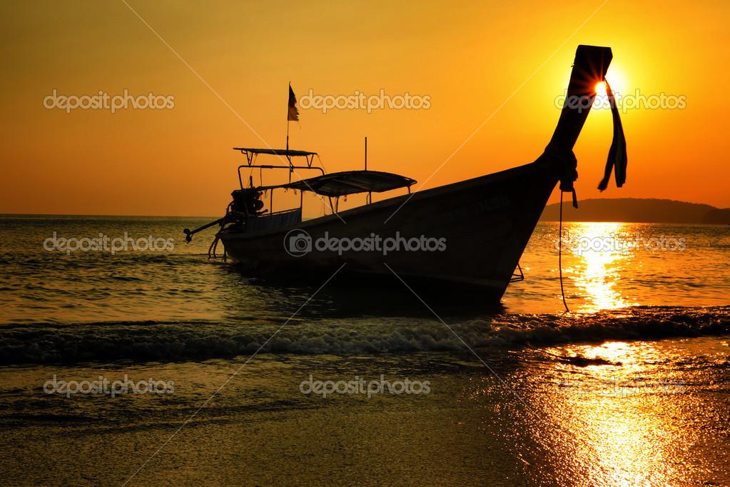 long boat railay Krabi at sunset, Thailand