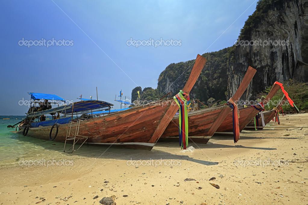 long boat at railay in Krabi, Thailand