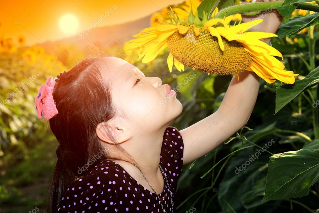 Cute asian child with sunflower