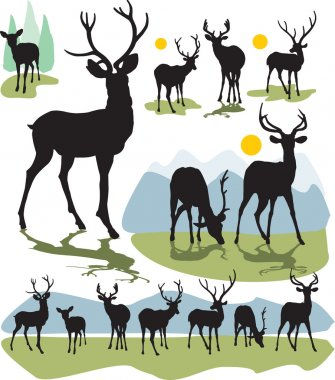 Set vector deer silhouettes