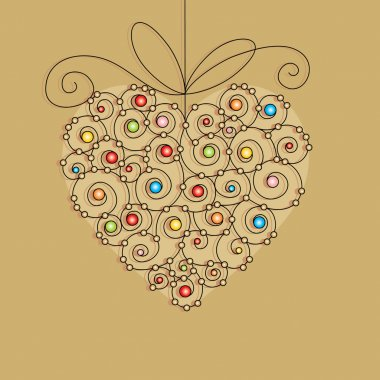 Vector editable and scalable greeting card with heart clip art vector
