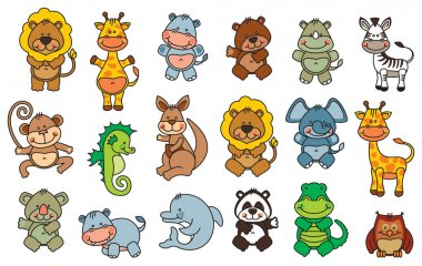 Set funny cartoon animals