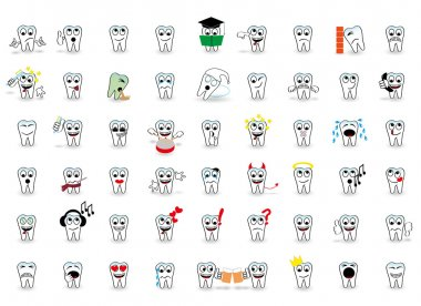 53 set tooth vector fun smiles