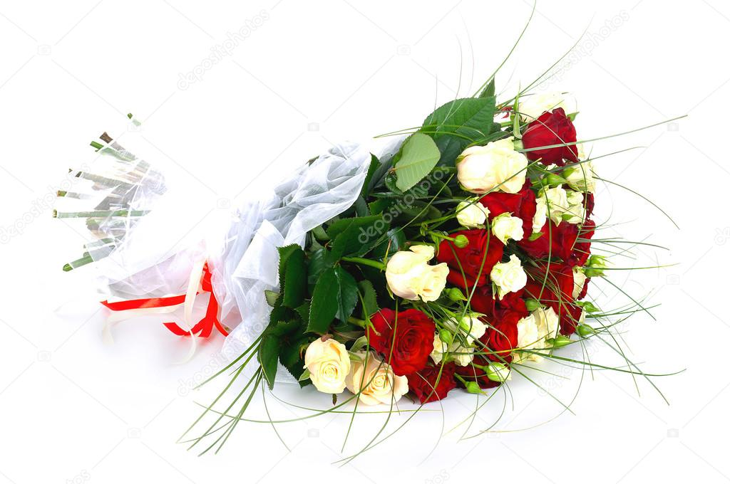 Beautiful bouquet of bright red flowers isolated on white background