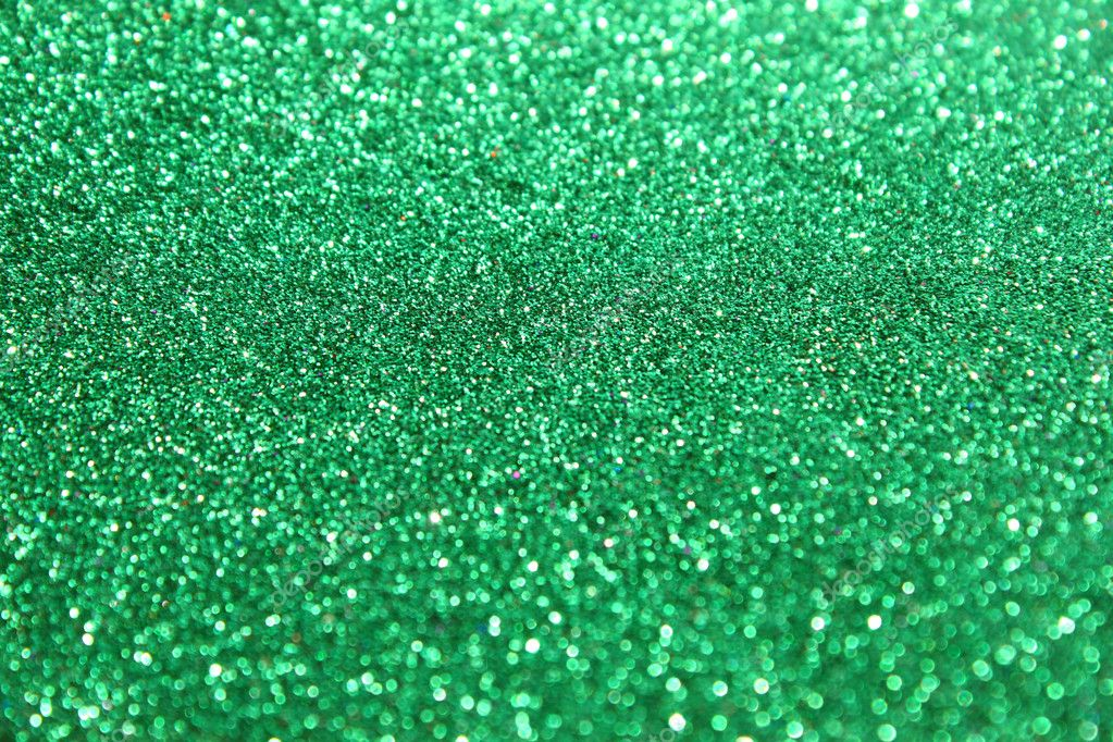 Abstract green glitter lights or Christmas background