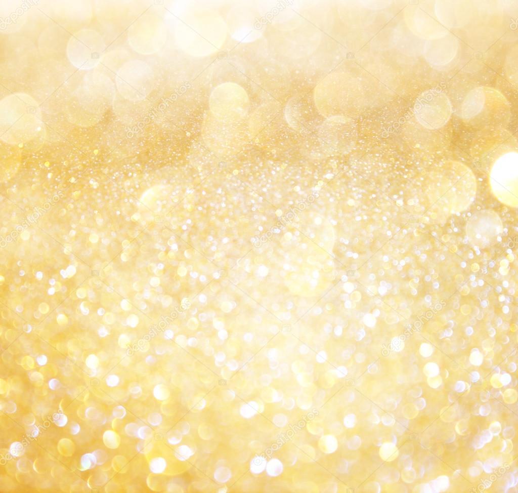 Luci Di Bokeh Astratto Bianco E Oro Sfondo Sfocato Foto Stock