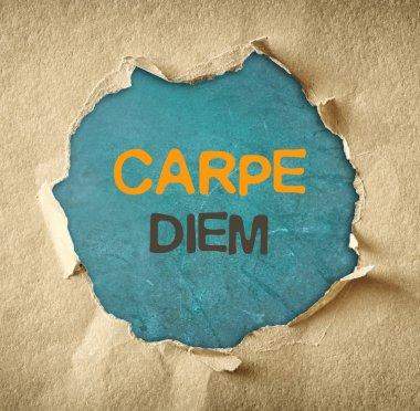 The phrase carpe diem written over chalkboard through hole in torn paper