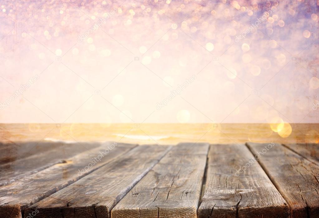 Sea landscape with boards