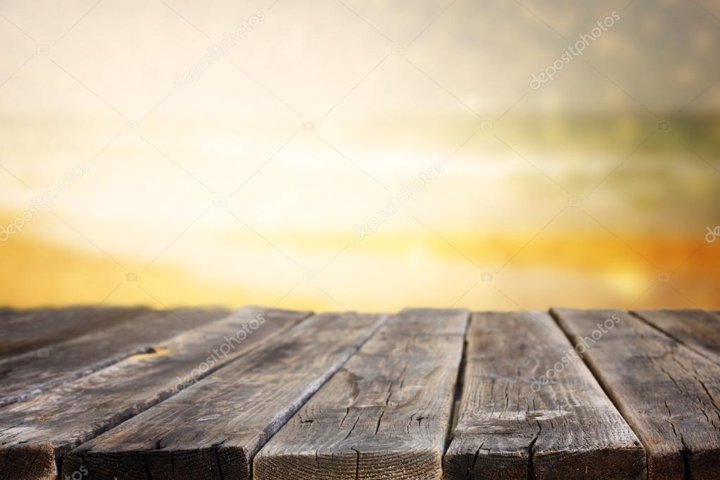 Planks with sea landscape.