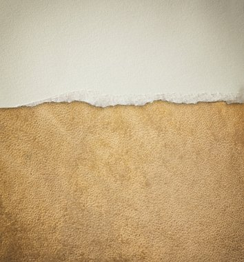 Old leather texture background pattern and vintage torn paper