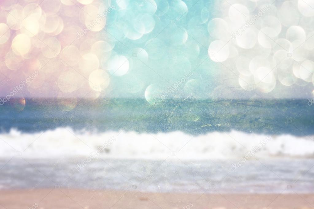 Background of blurred beach and sea waves with bokeh