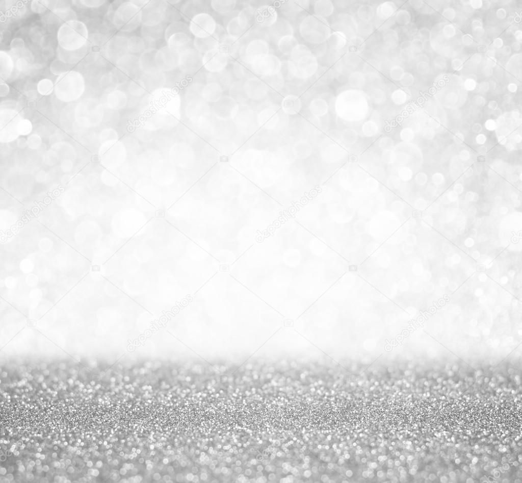 Silver and white bokeh lights