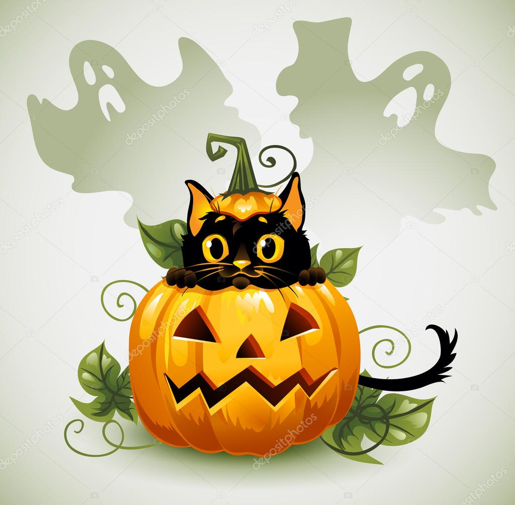 Black Cat In A Halloween Pumpkin And Ghost. U2014 Stock Vector