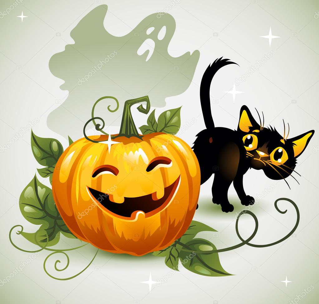 Attractive Black Cat Halloween Pumpkin And Ghost. U2014 Stock Vector