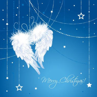 Merry Christmas angel wings background.