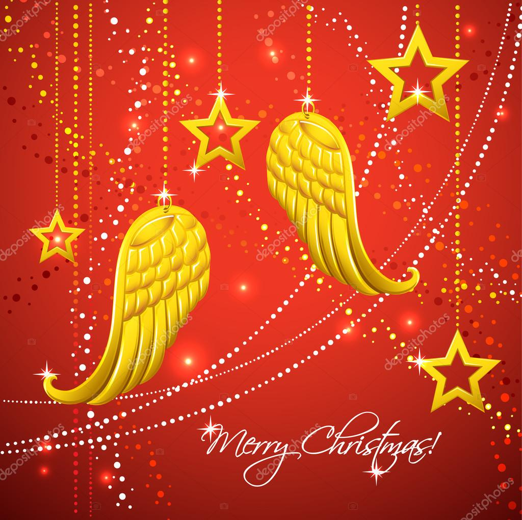 Christmas Card With Gold Angel Wings Stock Vector Efoxly 14294107