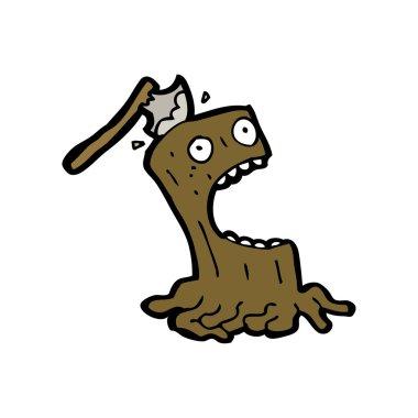 Tree stump cartoon character with ax