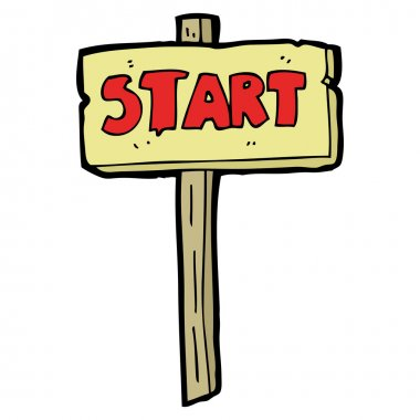 Start sign cartoon