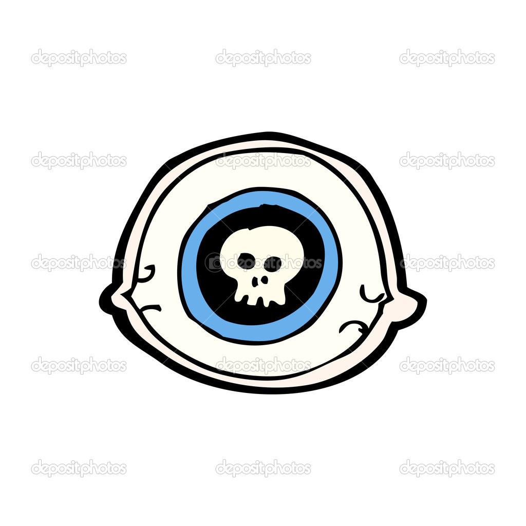 Occhio di cartone animato con teschio nella pupilla