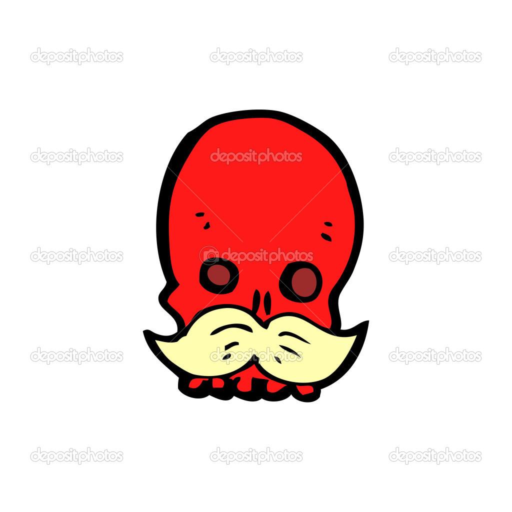 Teschio rosso spettrale del cartone animato u vettoriali stock