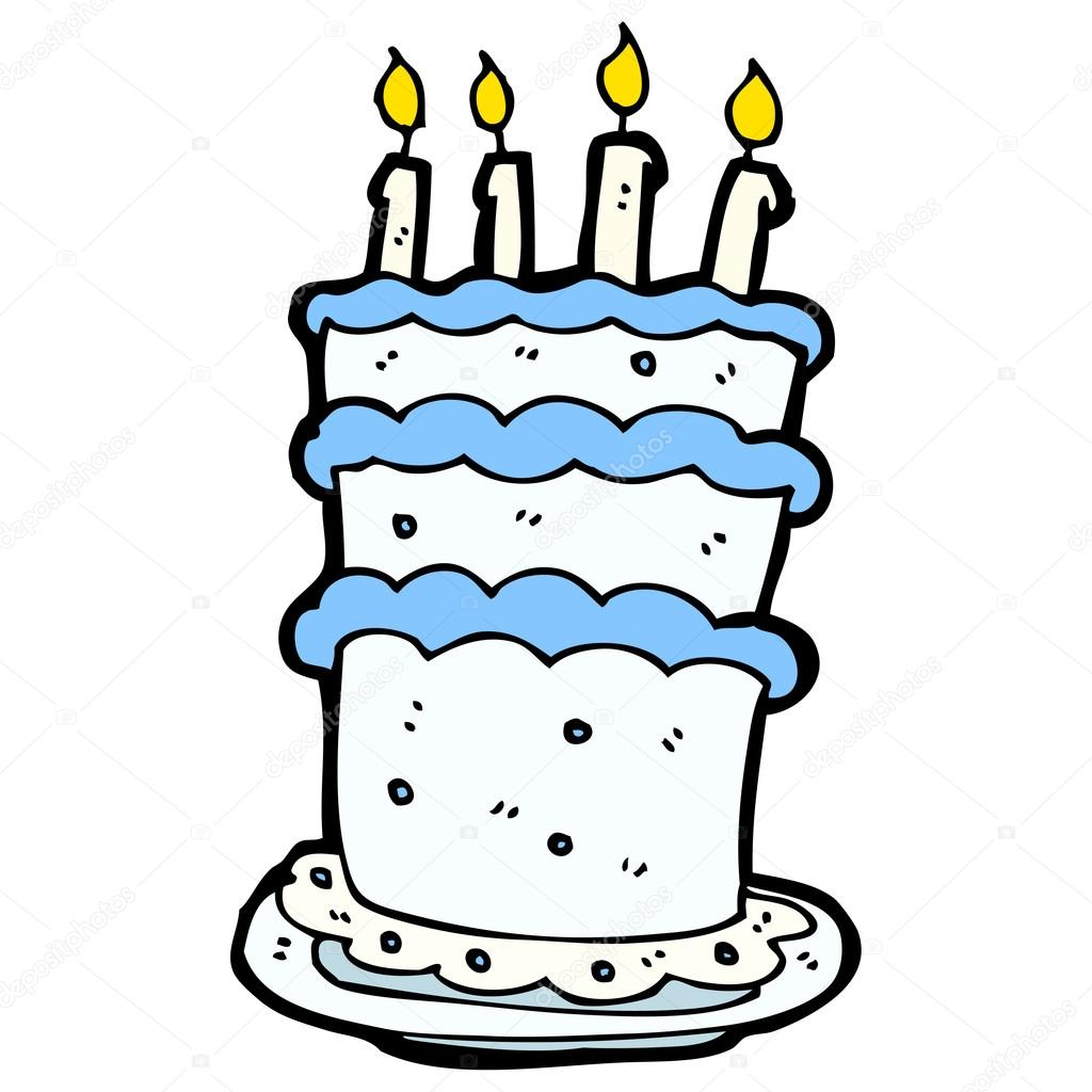 Huge heavy birthday cake cartoon Stock Vector lineartestpilot
